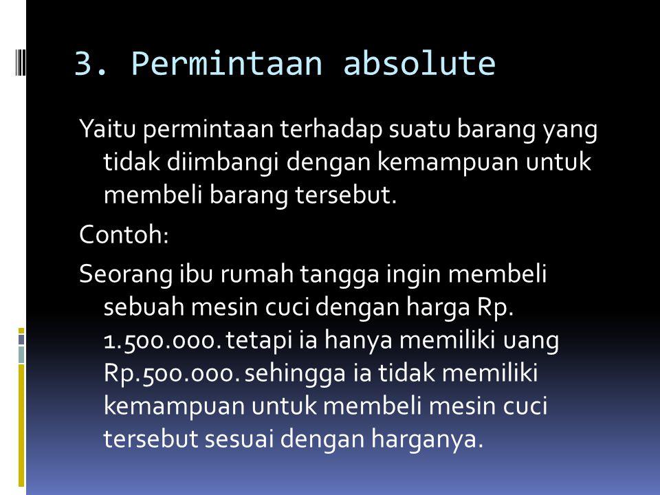 3. Permintaan absolute Yaitu permintaan terhadap suatu barang yang tidak diimbangi dengan kemampuan untuk membeli barang tersebut. Contoh: Seorang ibu