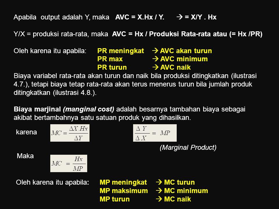 Apabila output adalah Y, maka AVC = X.Hx / Y.  = X/Y. Hx Y/X = produksi rata-rata, maka AVC = Hx / Produksi Rata-rata atau (= Hx /PR) Oleh karena itu