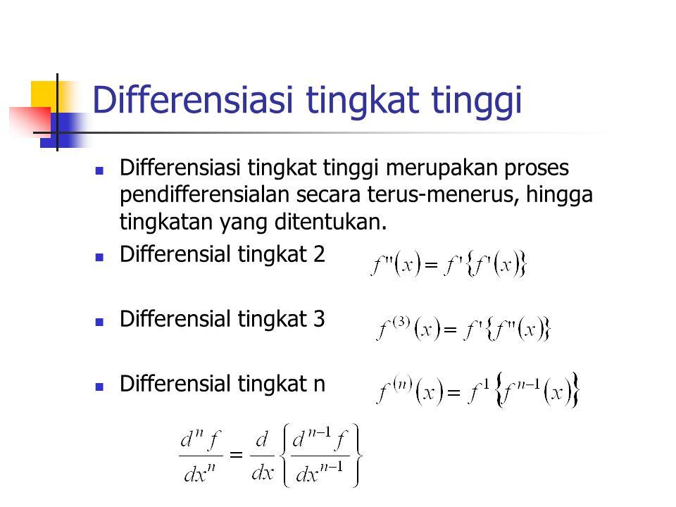 Differensiasi tingkat tinggi Differensiasi tingkat tinggi merupakan proses pendifferensialan secara terus-menerus, hingga tingkatan yang ditentukan. D