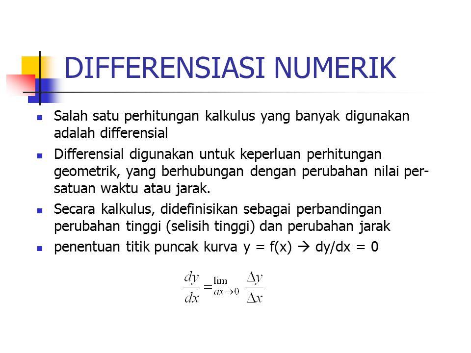 DIFFERENSIASI NUMERIK Salah satu perhitungan kalkulus yang banyak digunakan adalah differensial Differensial digunakan untuk keperluan perhitungan geometrik, yang berhubungan dengan perubahan nilai per- satuan waktu atau jarak.