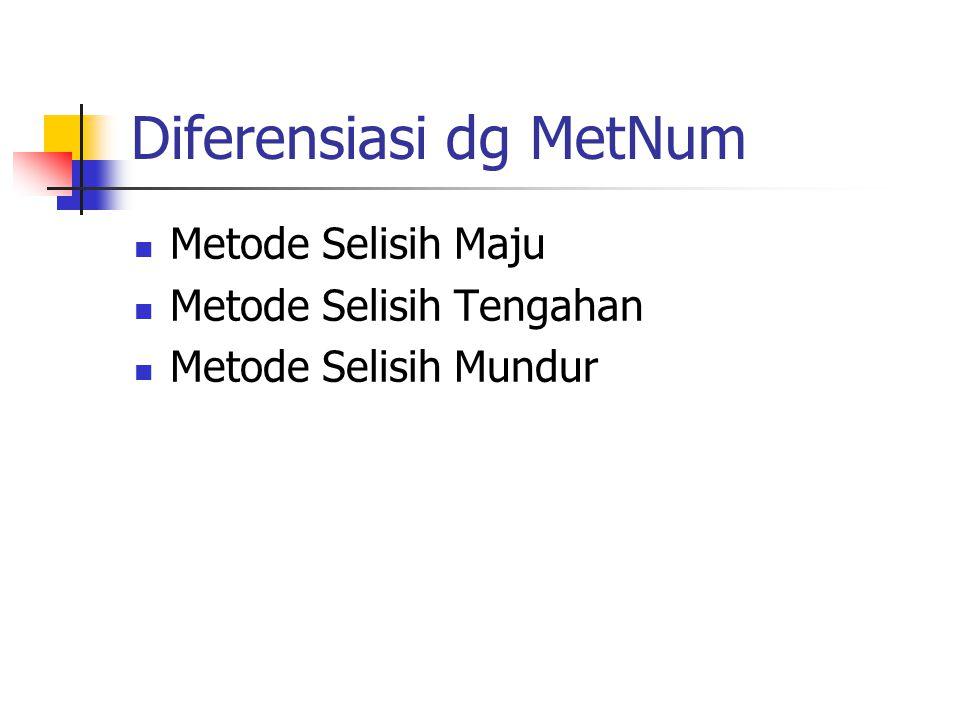 Metode Selisih Maju Metode selisih maju merupakan metode yang mengadopsi secara langsung definisi differensial Pengambilan h diharapkan pada nilai yang kecil agar errornya kecil Error yang dihasilkan