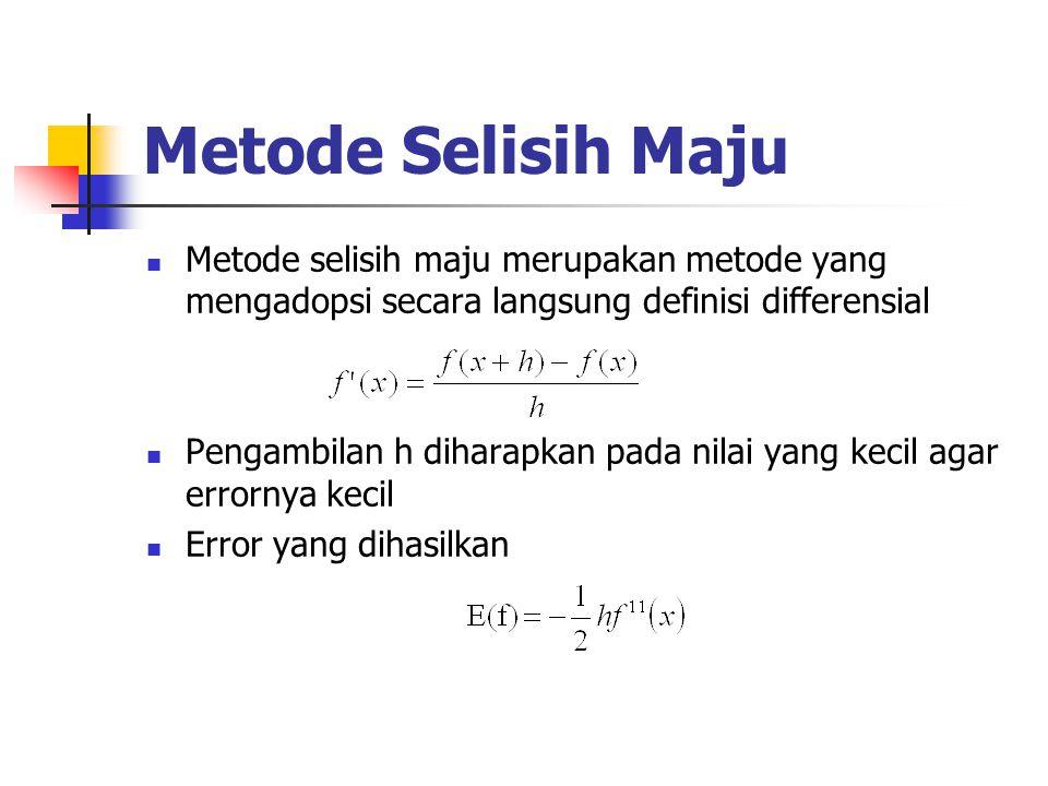 Metode Selisih Maju Metode selisih maju merupakan metode yang mengadopsi secara langsung definisi differensial Pengambilan h diharapkan pada nilai yan