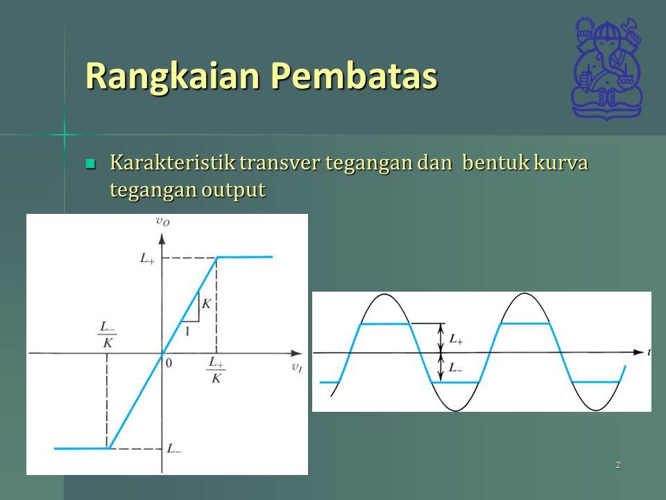 Rangkaian Pembatas Karakteristik transver tegangan dan bentuk kurva tegangan output Karakteristik transver tegangan dan bentuk kurva tegangan output 2