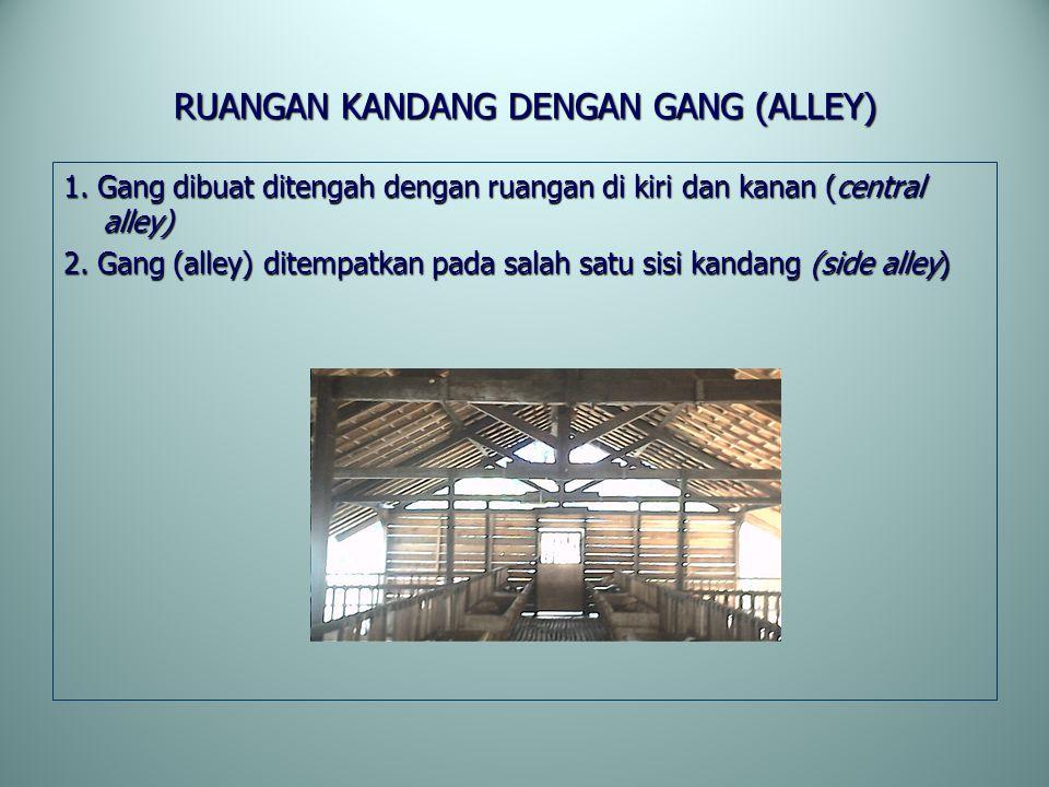 RUANGAN KANDANG DENGAN GANG (ALLEY) 1. Gang dibuat ditengah dengan ruangan di kiri dan kanan (central alley) 2. Gang (alley) ditempatkan pada salah sa