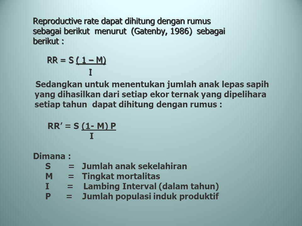 Reproductive rate dapat dihitung dengan rumus sebagai berikut menurut (Gatenby, 1986) sebagai berikut : RR = S ( 1 – M) RR = S ( 1 – M) I Sedangkan un