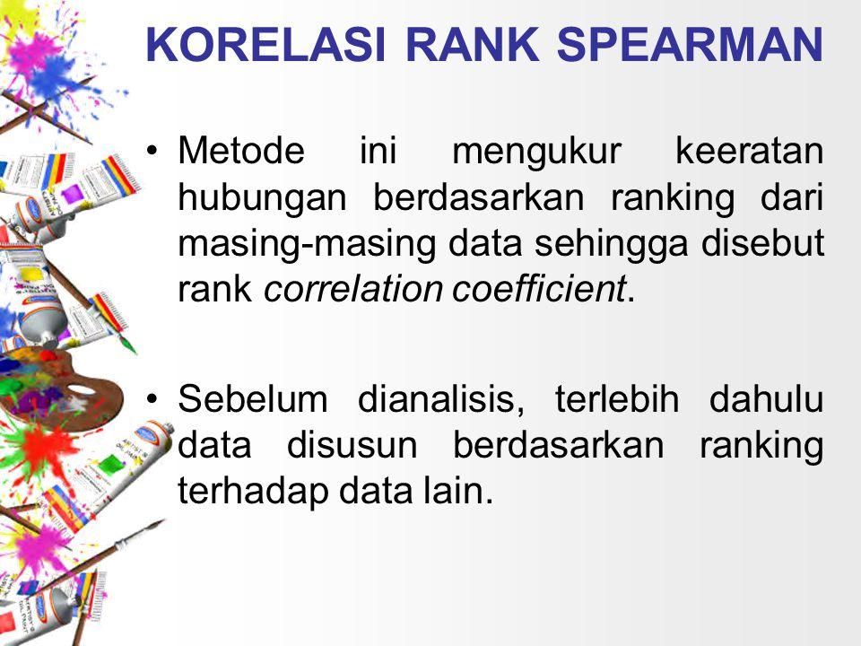 KORELASI RANK SPEARMAN Metode ini mengukur keeratan hubungan berdasarkan ranking dari masing-masing data sehingga disebut rank correlation coefficient