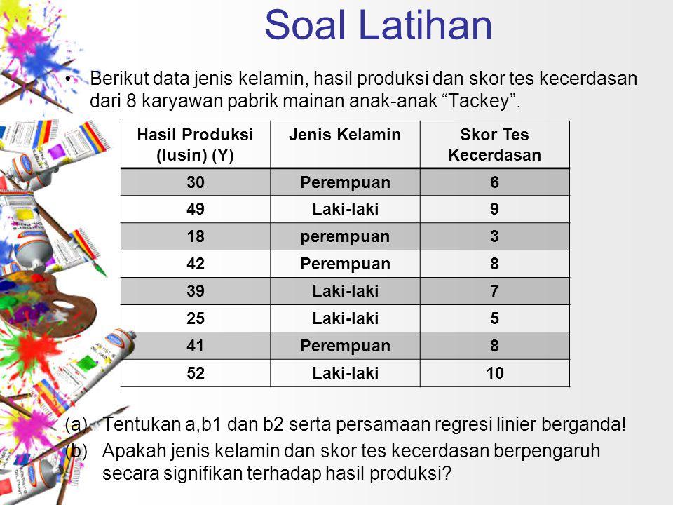 """Soal Latihan Berikut data jenis kelamin, hasil produksi dan skor tes kecerdasan dari 8 karyawan pabrik mainan anak-anak """"Tackey"""". (a)Tentukan a,b1 dan"""