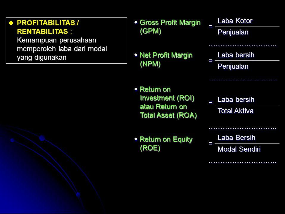  PROFITABILITAS / RENTABILITAS : Kemampuan perusahaan memperoleh laba dari modal yang digunakan  Gross Profit Margin (GPM) = Laba Kotor Penjualan ……