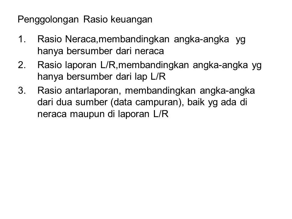 Penggolongan Rasio keuangan 1.Rasio Neraca,membandingkan angka-angka yg hanya bersumber dari neraca 2.Rasio laporan L/R,membandingkan angka-angka yg h