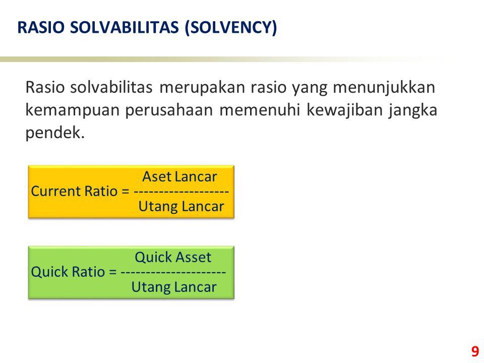 9 RASIO SOLVABILITAS (SOLVENCY) Rasio solvabilitas merupakan rasio yang menunjukkan kemampuan perusahaan memenuhi kewajiban jangka pendek. Aset Lancar