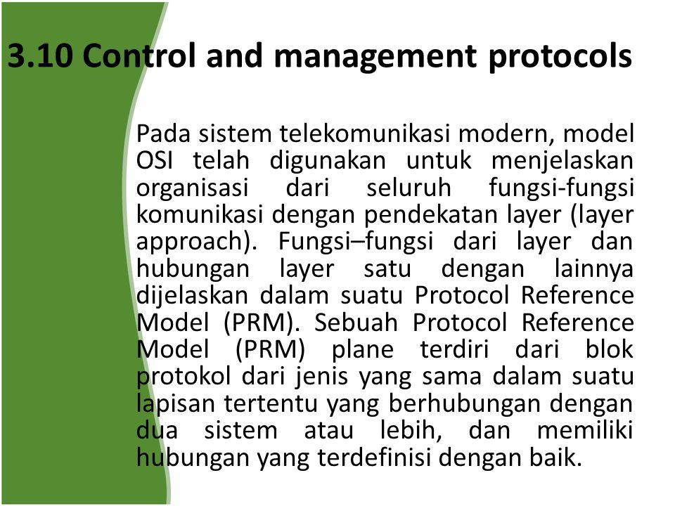 3.10 Control and management protocols Pada sistem telekomunikasi modern, model OSI telah digunakan untuk menjelaskan organisasi dari seluruh fungsi-fungsi komunikasi dengan pendekatan layer (layer approach).