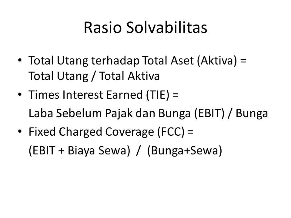 Rasio Solvabilitas Total Utang terhadap Total Aset (Aktiva) = Total Utang / Total Aktiva Times Interest Earned (TIE) = Laba Sebelum Pajak dan Bunga (EBIT) / Bunga Fixed Charged Coverage (FCC) = (EBIT + Biaya Sewa) / (Bunga+Sewa)