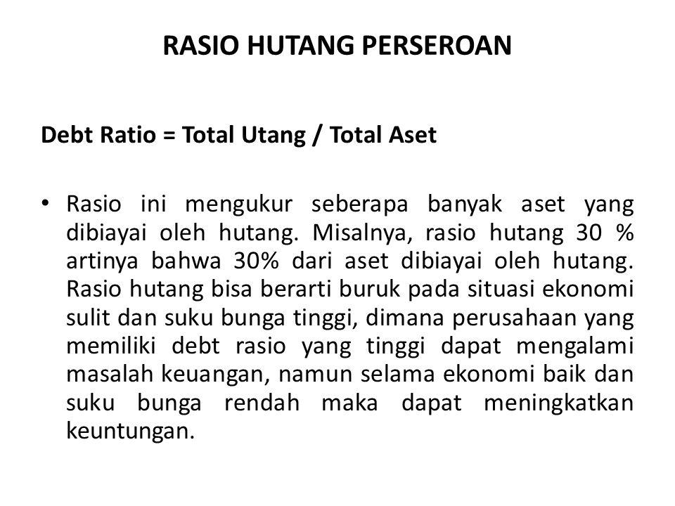 RASIO HUTANG PERSEROAN Debt Ratio = Total Utang / Total Aset Rasio ini mengukur seberapa banyak aset yang dibiayai oleh hutang.
