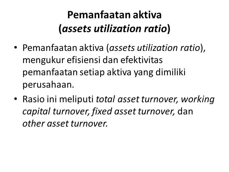 Pemanfaatan aktiva (assets utilization ratio) Pemanfaatan aktiva (assets utilization ratio), mengukur efisiensi dan efektivitas pemanfaatan setiap aktiva yang dimiliki perusahaan.