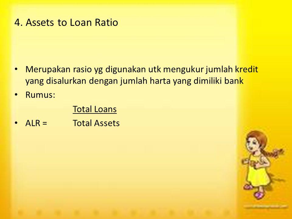 4. Assets to Loan Ratio Merupakan rasio yg digunakan utk mengukur jumlah kredit yang disalurkan dengan jumlah harta yang dimiliki bank Rumus: Total Lo