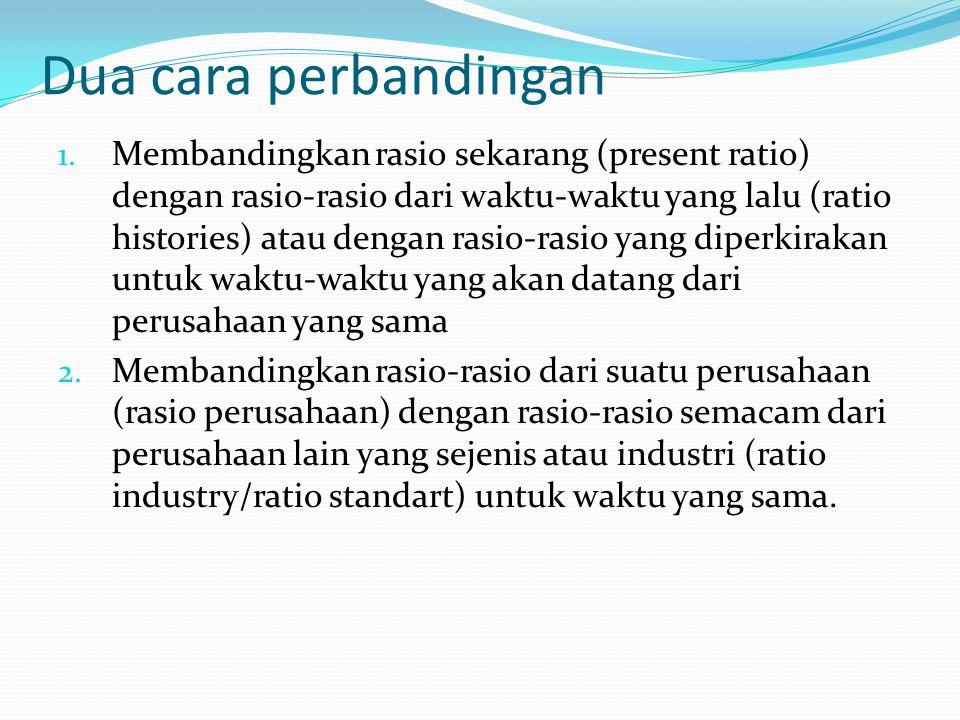 Pengelompokan Rasio Rasio likuiditas – Rasio untuk mengukur likuiditas perusahaan Rasio-rasio aktivitas/efisiensi – Rasio untuk mengukur seberapa besar efektifitas perusahaan dalam mengerjakan sumber-sumber dananya Rasio-rasio profitabilitas – Rasio yang menunjukan hasil akhir dari sejumlah kebijaksanaan dan keputusan – keputusan Ratio leverage/coverage – Rasio untuk mengukur sejauh mana aktiva perusahaan dibiayai dengan hutang