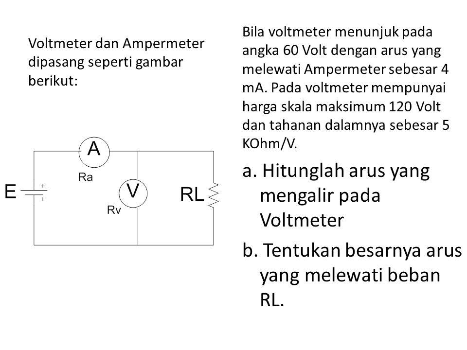 Voltmeter dan Ampermeter dipasang seperti gambar berikut: Bila voltmeter menunjuk pada angka 60 Volt dengan arus yang melewati Ampermeter sebesar 4 mA