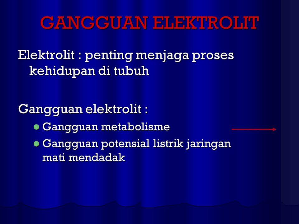 GANGGUAN ELEKTROLIT Elektrolit : penting menjaga proses kehidupan di tubuh Gangguan elektrolit : Gangguan metabolisme Gangguan metabolisme Gangguan po