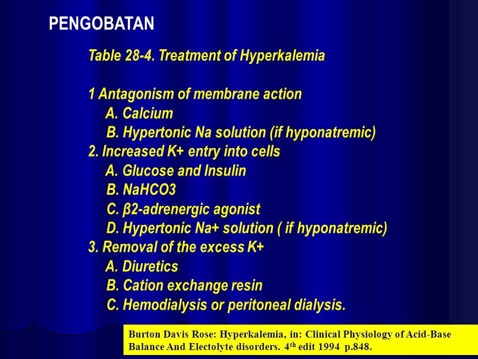 Table 28-4. Treatment of Hyperkalemia 1 Antagonism of membrane action A. Calcium B. Hypertonic Na solution (if hyponatremic) 2. Increased K+ entry int