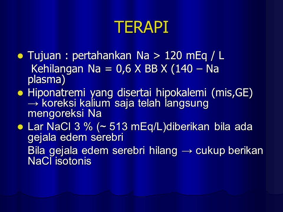 TERAPI Tujuan : pertahankan Na > 120 mEq / L Tujuan : pertahankan Na > 120 mEq / L Kehilangan Na = 0,6 X BB X (140 – Na plasma) Kehilangan Na = 0,6 X