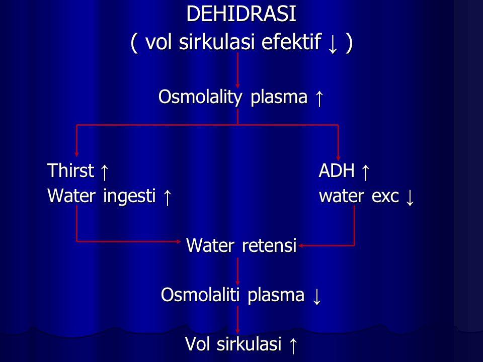 DEHIDRASI ( vol sirkulasi efektif ↓ ) Osmolality plasma ↑ Thirst ↑ ADH ↑ Water ingesti ↑ water exc ↓ Water retensi Osmolaliti plasma ↓ Vol sirkulasi ↑