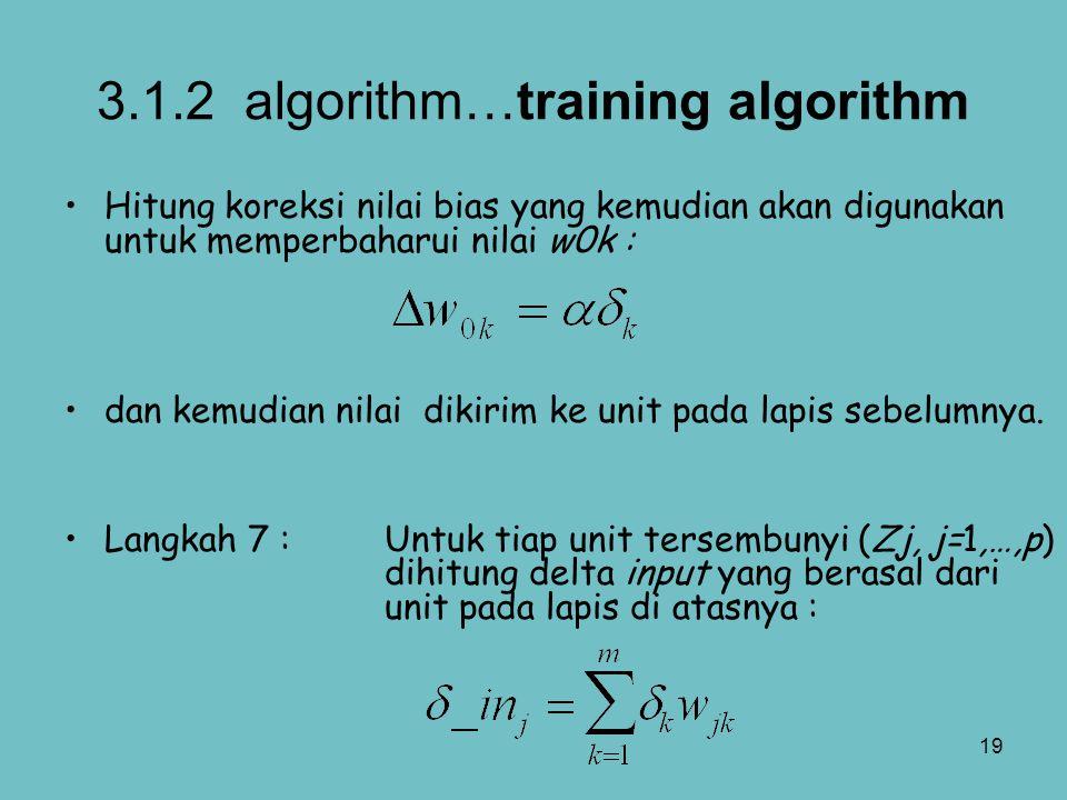 19 3.1.2 algorithm…training algorithm Hitung koreksi nilai bias yang kemudian akan digunakan untuk memperbaharui nilai w0k : dan kemudian nilai dikiri