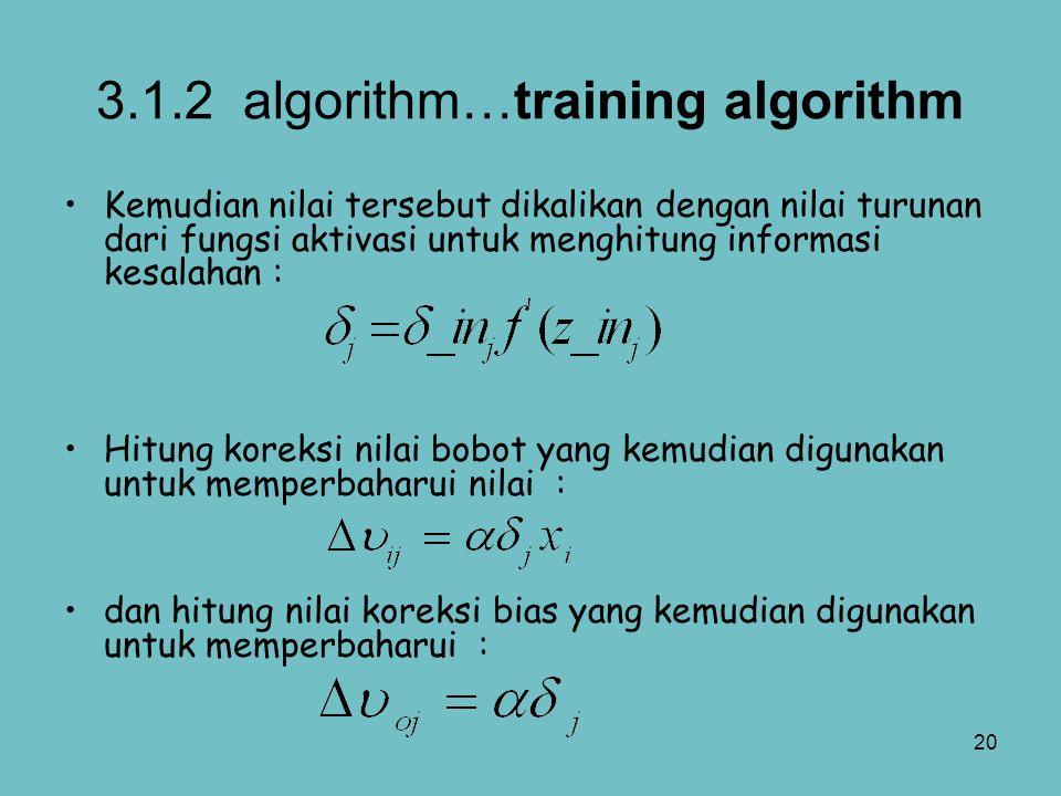 20 3.1.2 algorithm…training algorithm Kemudian nilai tersebut dikalikan dengan nilai turunan dari fungsi aktivasi untuk menghitung informasi kesalahan