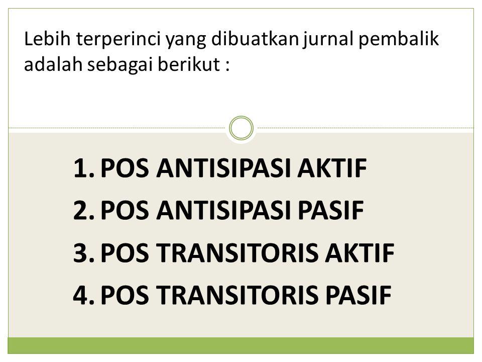 Lebih terperinci yang dibuatkan jurnal pembalik adalah sebagai berikut : 1.POS ANTISIPASI AKTIF 2.POS ANTISIPASI PASIF 3.POS TRANSITORIS AKTIF 4.POS T