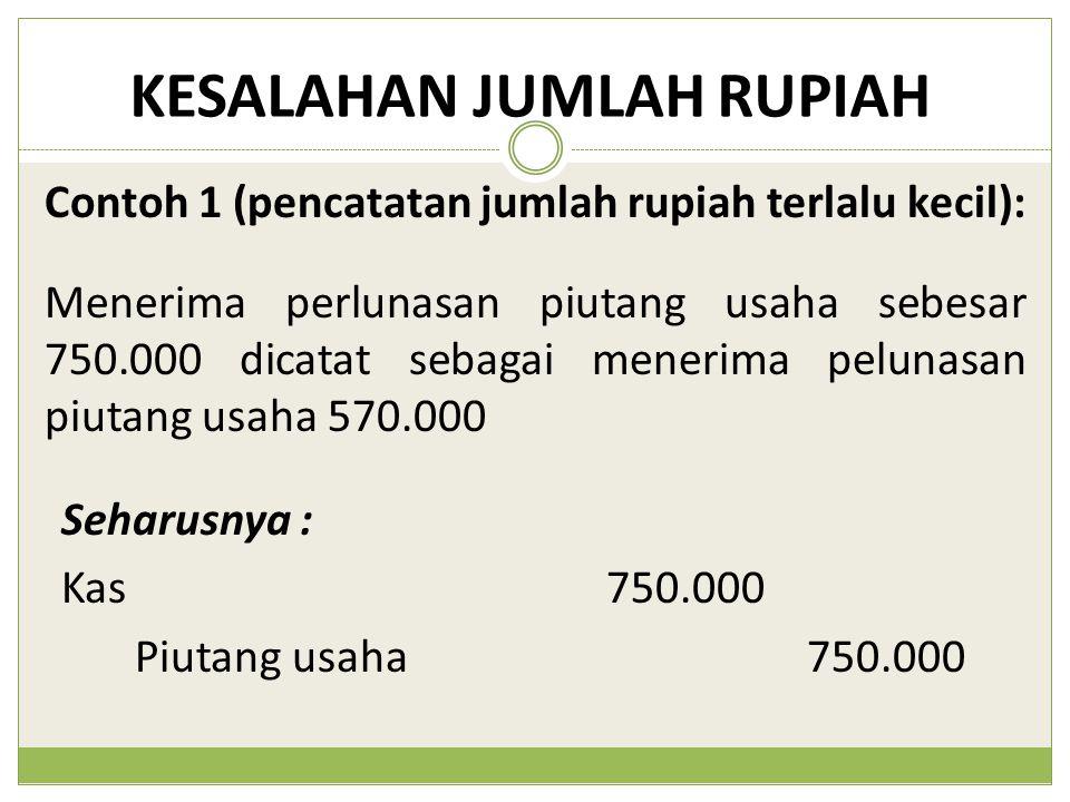 KESALAHAN JUMLAH RUPIAH Menerima perlunasan piutang usaha sebesar 750.000 dicatat sebagai menerima pelunasan piutang usaha 570.000 Contoh 1 (pencatata
