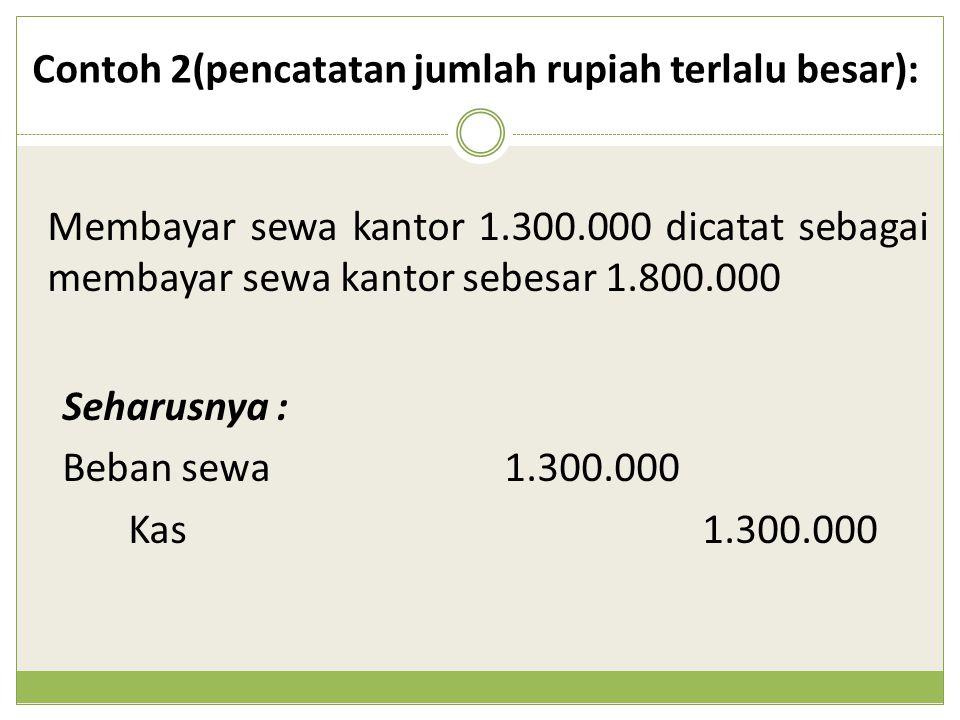 Membayar sewa kantor 1.300.000 dicatat sebagai membayar sewa kantor sebesar 1.800.000 Contoh 2(pencatatan jumlah rupiah terlalu besar): Seharusnya : B