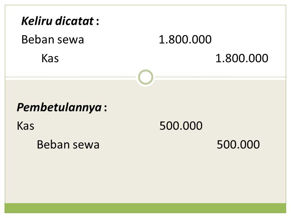 Keliru dicatat : Beban sewa1.800.000 Kas1.800.000 Pembetulannya : Kas 500.000 Beban sewa500.000