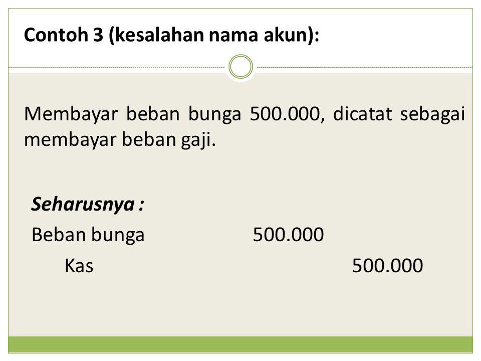 Membayar beban bunga 500.000, dicatat sebagai membayar beban gaji. Contoh 3 (kesalahan nama akun): Seharusnya : Beban bunga500.000 Kas500.000