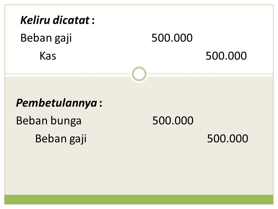 Keliru dicatat : Beban gaji500.000 Kas500.000 Pembetulannya : Beban bunga 500.000 Beban gaji500.000