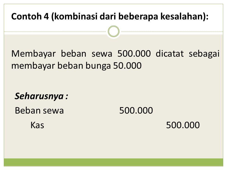Membayar beban sewa 500.000 dicatat sebagai membayar beban bunga 50.000 Contoh 4 (kombinasi dari beberapa kesalahan): Seharusnya : Beban sewa500.000 K