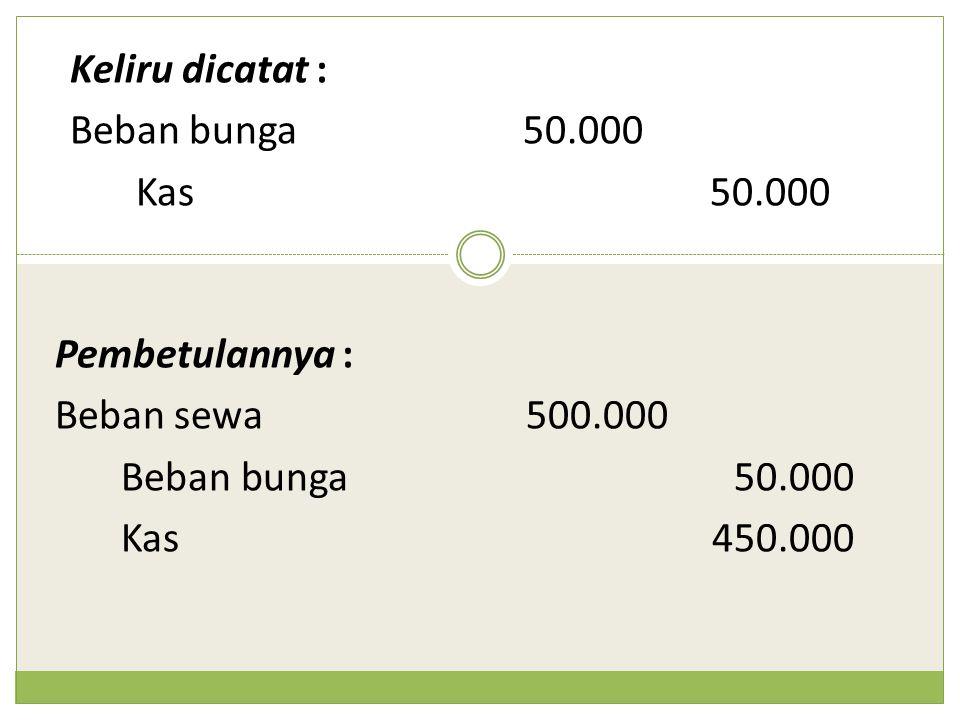 Keliru dicatat : Beban bunga50.000 Kas50.000 Pembetulannya : Beban sewa 500.000 Beban bunga50.000 Kas450.000