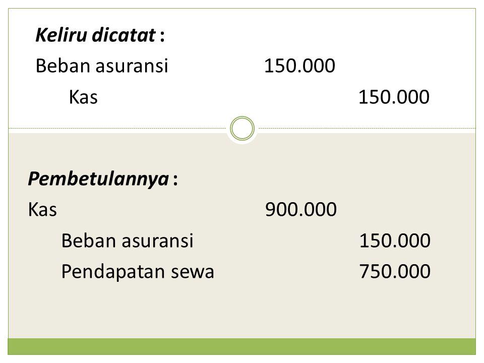 Keliru dicatat : Beban asuransi150.000 Kas150.000 Pembetulannya : Kas900.000 Beban asuransi150.000 Pendapatan sewa750.000