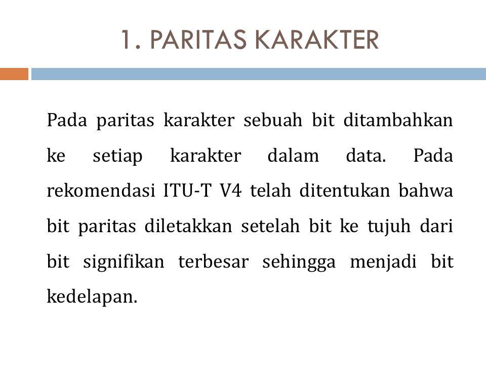 1. PARITAS KARAKTER Pada paritas karakter sebuah bit ditambahkan ke setiap karakter dalam data. Pada rekomendasi ITU-T V4 telah ditentukan bahwa bit p