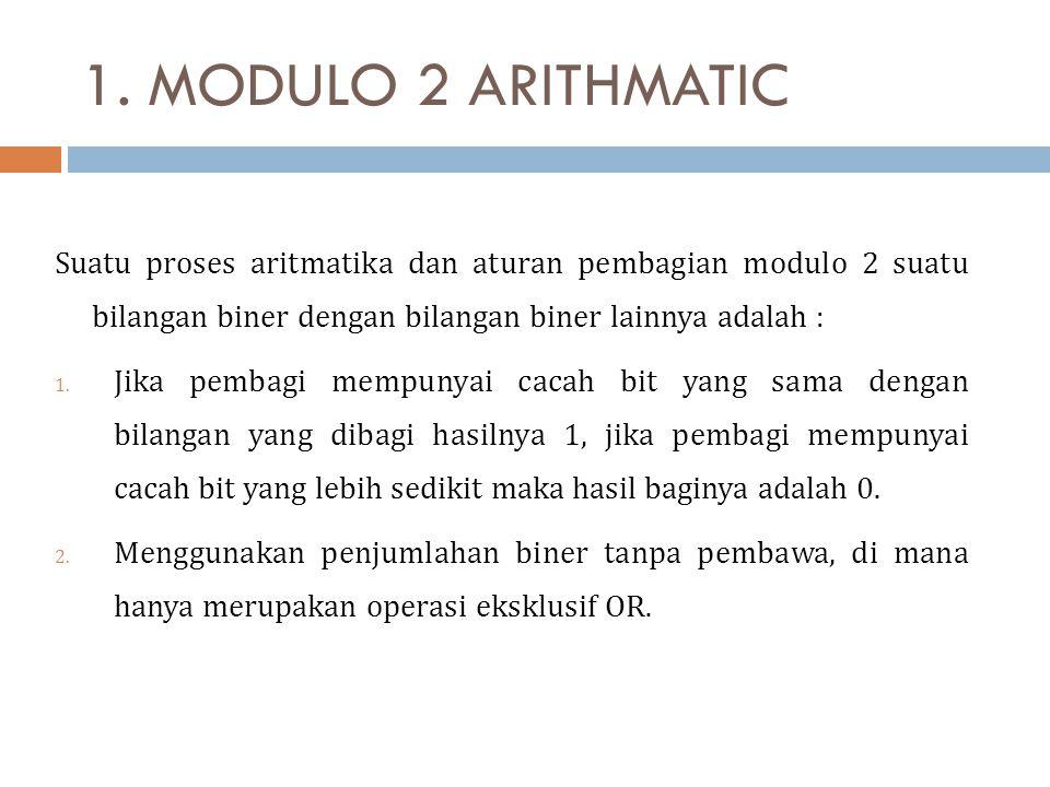1. MODULO 2 ARITHMATIC Suatu proses aritmatika dan aturan pembagian modulo 2 suatu bilangan biner dengan bilangan biner lainnya adalah : 1. Jika pemba