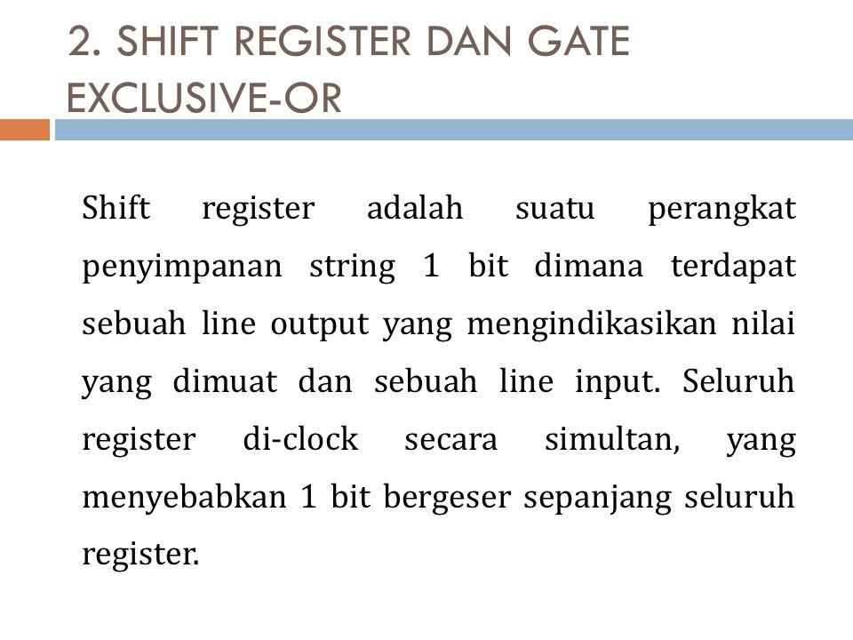 2. SHIFT REGISTER DAN GATE EXCLUSIVE-OR Shift register adalah suatu perangkat penyimpanan string 1 bit dimana terdapat sebuah line output yang mengind