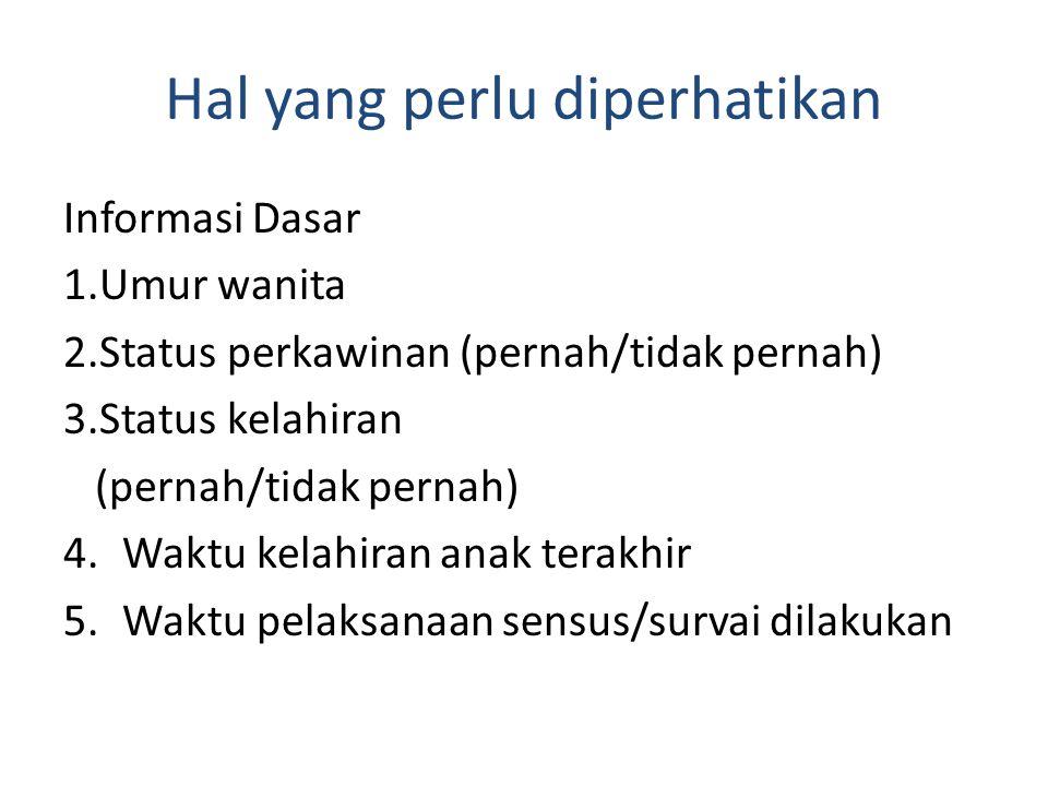 Hal yang perlu diperhatikan Informasi Dasar 1.Umur wanita 2.Status perkawinan (pernah/tidak pernah) 3.Status kelahiran (pernah/tidak pernah) 4.Waktu k