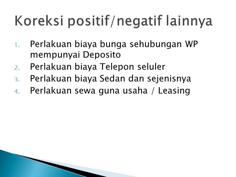 1.Perlakuan biaya bunga sehubungan WP mempunyai Deposito 2.