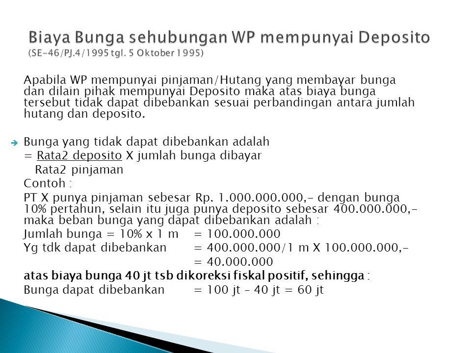 Apabila WP mempunyai pinjaman/Hutang yang membayar bunga dan dilain pihak mempunyai Deposito maka atas biaya bunga tersebut tidak dapat dibebankan sesuai perbandingan antara jumlah hutang dan deposito.