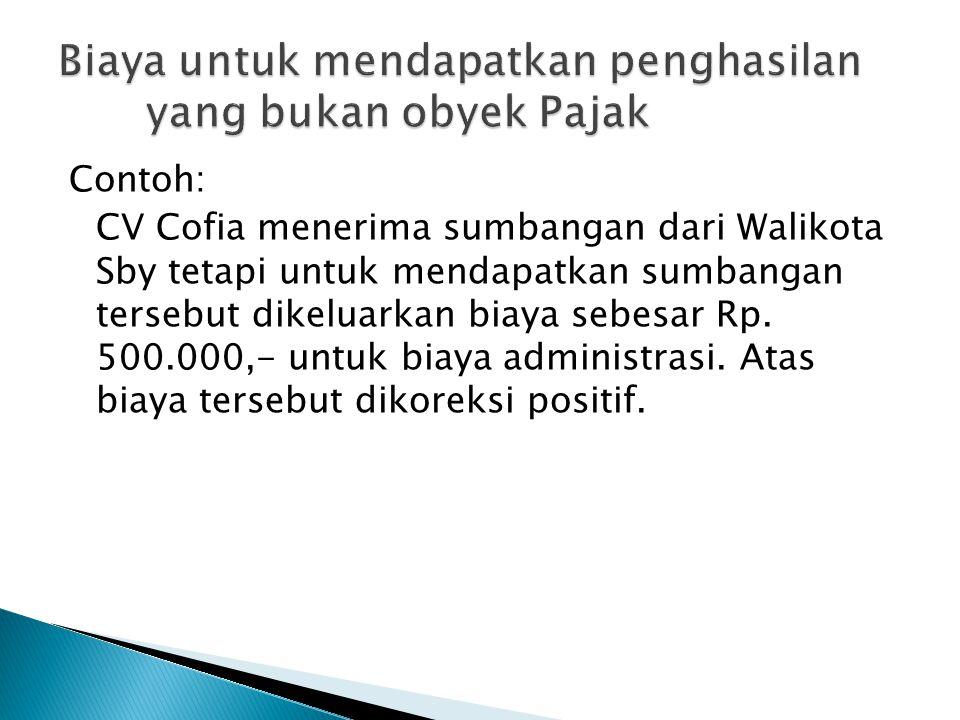 Contoh: CV Cofia menerima sumbangan dari Walikota Sby tetapi untuk mendapatkan sumbangan tersebut dikeluarkan biaya sebesar Rp. 500.000,- untuk biaya