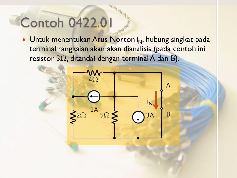 Contoh 0422.01 Untuk menentukan Arus Norton i N, hubung singkat pada terminal rangkaian akan akan dianalisis (pada contoh ini resistor 3  ditandai
