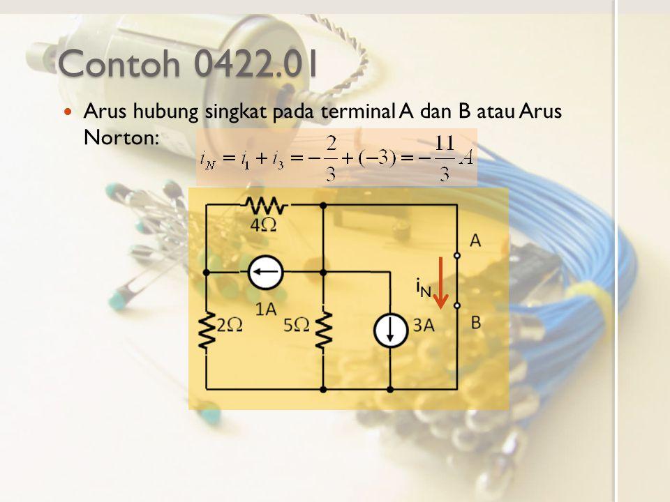 Contoh 0422.01 Arus hubung singkat pada terminal A dan B atau Arus Norton: iNiN