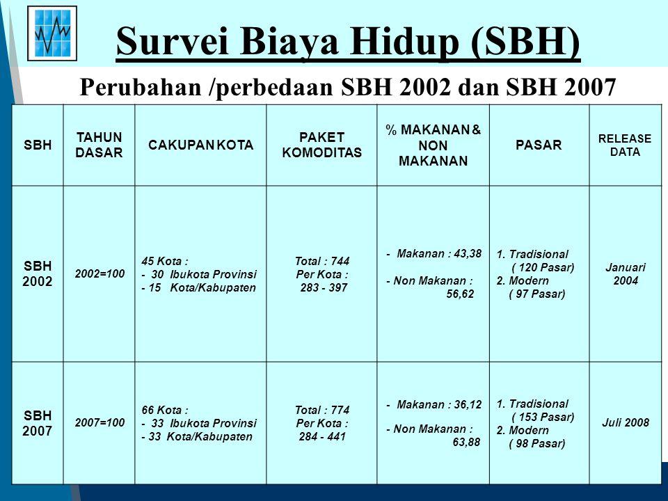 Survei Biaya Hidup (SBH) SBH TAHUN DASAR CAKUPAN KOTA PAKET KOMODITAS % MAKANAN & NON MAKANAN PASAR RELEASE DATA SBH 2002 2002=100 45 Kota : - 30 Ibuk