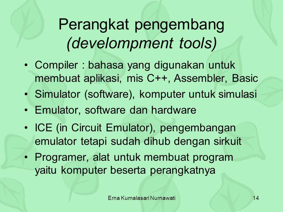 Erna Kumalasari Nurnawati14 Perangkat pengembang (develompment tools) Compiler : bahasa yang digunakan untuk membuat aplikasi, mis C++, Assembler, Bas