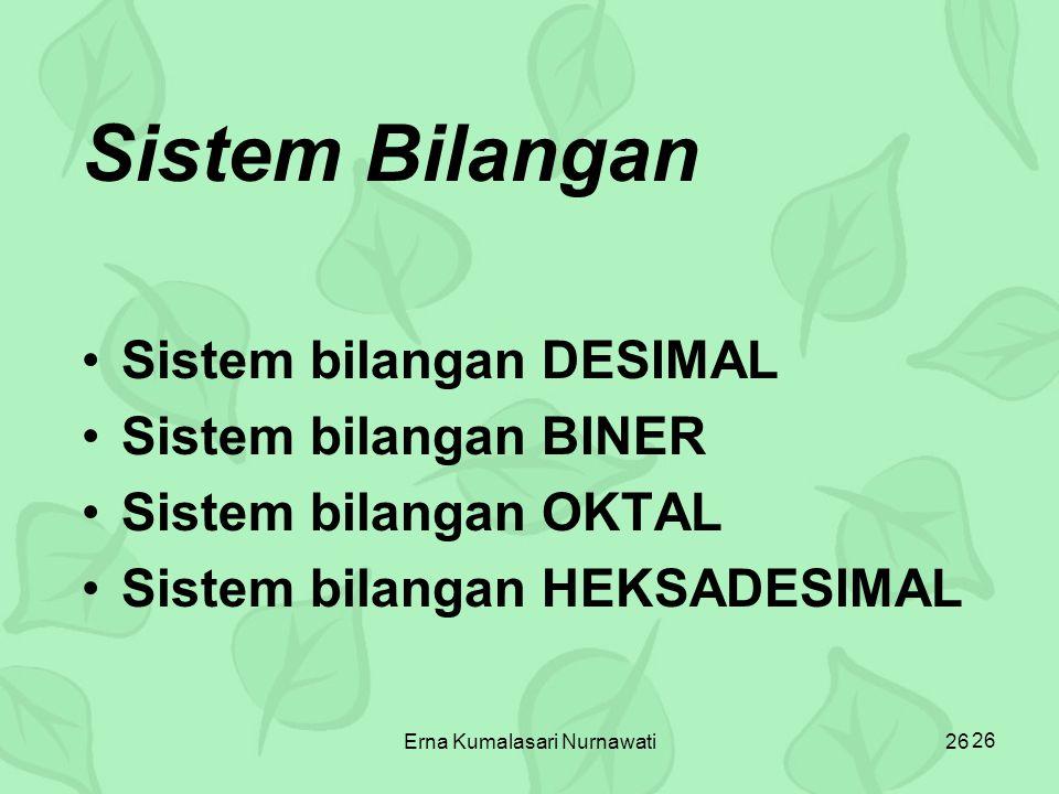 Erna Kumalasari Nurnawati26 Sistem Bilangan Sistem bilangan DESIMAL Sistem bilangan BINER Sistem bilangan OKTAL Sistem bilangan HEKSADESIMAL