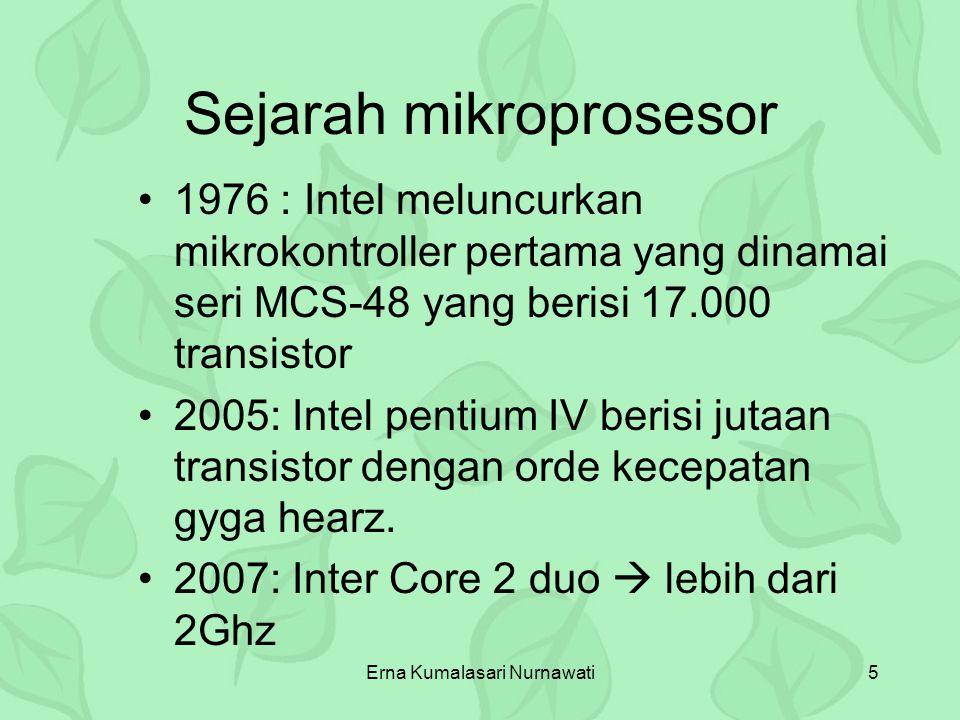 Erna Kumalasari Nurnawati5 Sejarah mikroprosesor 1976 : Intel meluncurkan mikrokontroller pertama yang dinamai seri MCS-48 yang berisi 17.000 transist