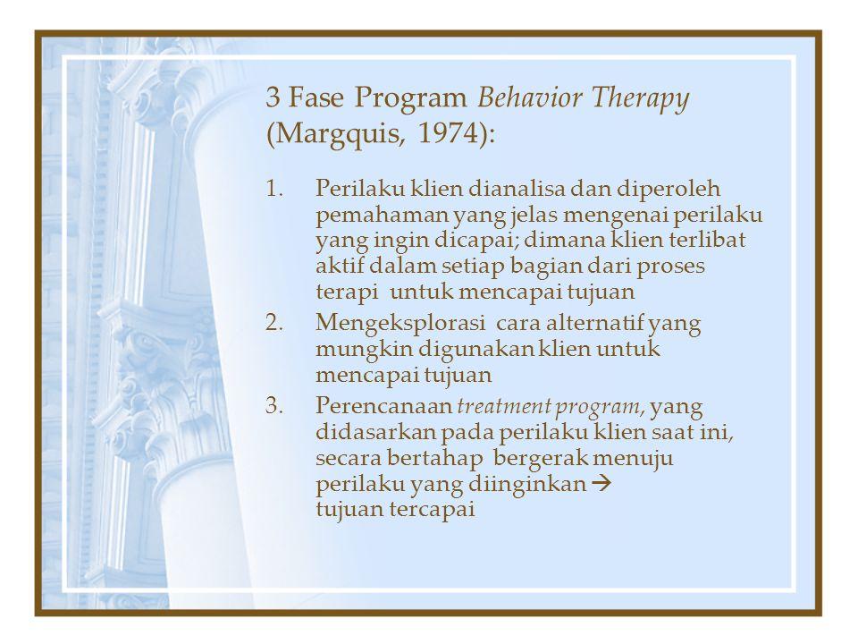 3 Fase Program Behavior Therapy (Margquis, 1974): 1.Perilaku klien dianalisa dan diperoleh pemahaman yang jelas mengenai perilaku yang ingin dicapai;
